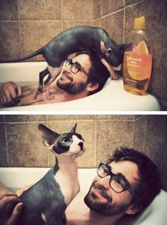 hot man + ugly cat  I'm down with this.