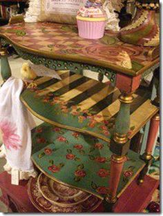 #painted table its a little busy but i love it just the same