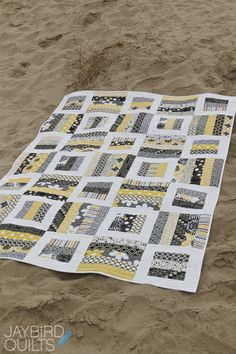Love the black, white, and yellow. Radio Way by Jaybird Quilts.