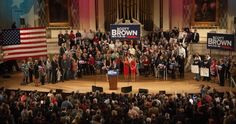 Photos of Scott Brown's re-election campaign kick off at Mechanics Hall in Worcester.