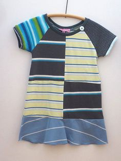 Upcycled OOAK  Size 5 TShirt Dress Mixed Striped by TwoSweetMamas