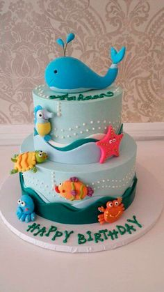"""Check out these birthday cakes for boys for one that will have your junior guest of honor singing """"Happy Birthday to Me!"""" Check out these birthday cakes for boys for one that will have your junior guest of honor singing Happy Birthday to Me! Whale Cakes, Ocean Cakes, Beach Cakes, Fancy Cakes, Cute Cakes, Bolo Fack, Gateau Baby Shower, Rodjendanske Torte, First Birthday Cakes"""