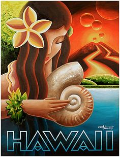 Hawaii ~ Art Deco Poster ~ mkungl studios