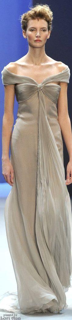 Christophe Josse ~ Couture Elegant Off the Shoulder Taupe Sheer Dress
