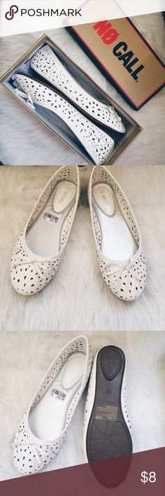 No Call White Flats Cute white flats from no call with cutout detailing throughout the front and side of the shoe. Features a bow on the front. Perfect shoes to slip into to complete any semi-formal monochrome outfit or good for just casual wear. Feel free to make me an offer 😊 No Call Shoes Flats & Loafers