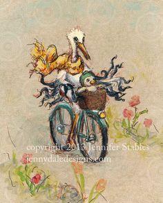 """Whimsical Stork art- """"Stork's day off"""" hand signed art print on Etsy, $23.00 CAD"""