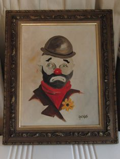 Vintage original oil painting of clown on canvas by SweetResale