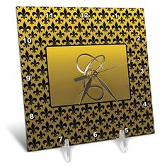 3drose dc_36081_1 elegant letter c embossed in gold frame over a black fleurdelis pattern on a