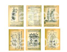 Antique STEAMPUNK Engine Diagrams... ATC and by phenomenon1859