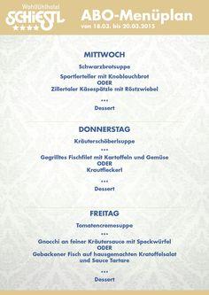 Das ABO-Menü für Mittwoch bis Freitag (18. - 20.03.2015). Wir wünschen Guten Appetit!