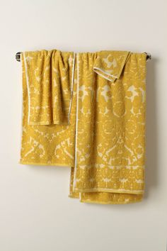 Beautiful vintage inspired mustard towels from Anthro.