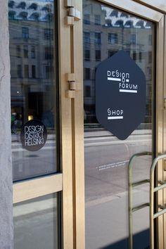 Helsinki design is the Design Forum shop - door sign