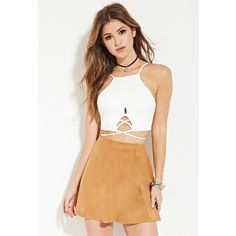 Forever 21 Women's  Faux Suede Skater Skirt ($9.90) ❤ liked on Polyvore featuring skirts, beige skirt, flared skirt, skater skirt, forever 21 skirts and forever 21