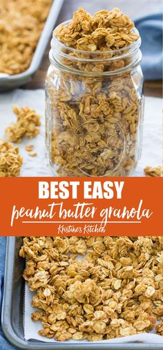 This easy Peanut Butter Granola is made with just 4 ingredients! This homemade granola is crisp and flavorful with big clusters. This healthy granola recipe is perfect for breakfast or a snack! Add chocolate chips for a real treat. #granola #peanutbutter #breakfastideas