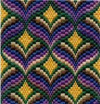 Free Bargello Needlepoint Patterns - Second Crafting Broderie Bargello, Bargello Needlepoint, Bargello Quilts, Needlepoint Stitches, Needlework, Bargello Patterns, Afghan Crochet Patterns, Crocheting Patterns, Cross Stitch Embroidery