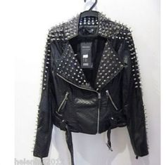 Chic Women/'s Punk Spike Rivet Studded Nightclub Pattern Leather Jacket Coat HOT
