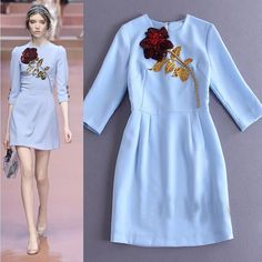 2015 New Fashion Style Runway Rose Embroidery Blue Ball Gown Formal Dress S M L  #NEW #Partydress #Cocktail
