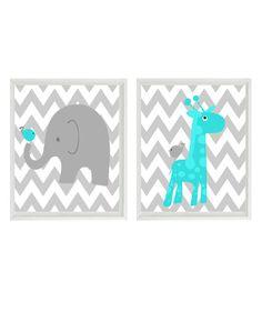 Nursery Art - Elephant Wall Art, Giraffe Print, Chevron Nursery Art, Gray Aqua Nursery, Baby Boy Nursery Art, Boy Wall Art, Chevron Elephant
