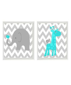 Nursery Art - Elephant Giraffe Bird - Chevron Turquoise Gray - Baby Boy Room Safari Modern Baby - Wall Art Home Decor Set 2 8x10 Prints on Etsy, $30.00 @Bonnie Zimmerman