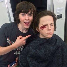 Chandler & NEW Carl Chandler Riggs with the Carl Grimes Dummy ~ Behind the Scenes of 6x09 'No Way Out'