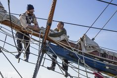 Crew of Hawaiian Chieftain working on the bowsprit. The ship is currently in Sausalito, Calif., through March 30. #travel #sailing #ships http://historicalseaport.org