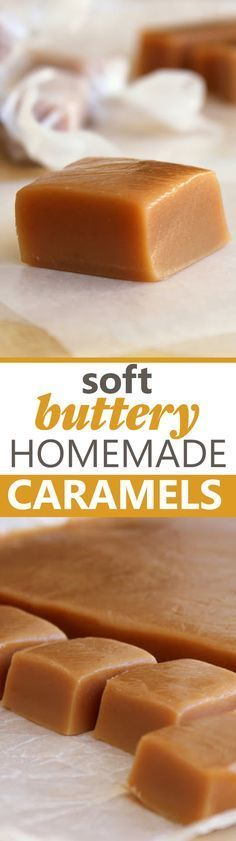 Soft, Buttery Homemade Caramels! A tried and true recipe you'll want to make every Christmas. Brownie Desserts, Carmel Desserts, Mini Desserts, Light Desserts, Oreo Dessert, Delicious Desserts, Soft Carmel Recipe, Soft Toffee Recipe, Soft Caramel Candy Recipe