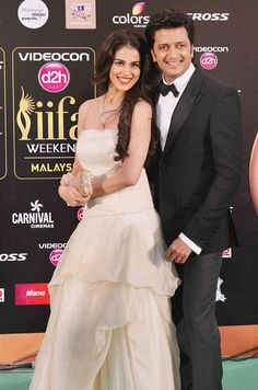 Riteish and Genelia D'Souza Deshmukh at the green carpet of #IIFAAwards2015 in Malaysia. #Bollywood #Fashion #Style #Beauty #Handsome