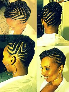 Cornrow updo. Great for work
