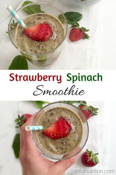 Creamy Strawberry Spinach Smoothie - Sinful Nutrition