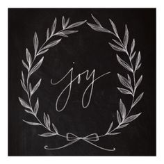 Chalkboard Art - Joy Wreath Poster