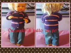Completo bambola: maglioncino di lana a uncinetto e jeans