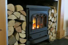 Log burner with stacked wood