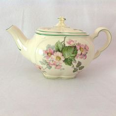 Edwin Knowles Gloria Pink Apple Blossoms 1930s Teapot with Matching from maggiebelles on Ruby Lane