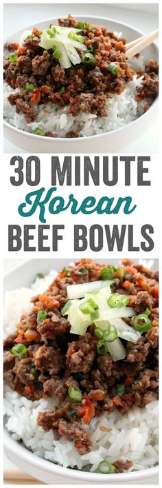 Korean Beef Bowls are seriously the perfect weeknight meal. An easy recipe that explodes with flavor. Meat, veggies, rice...What's not to love? ~ http://reallifedinner.com