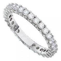 14k White Gold 3.00Ctw Diamond Eternity Wedding Ring Band