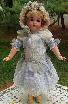 Dress, bonnet, petticoat for Antique doll #antiquedollplace