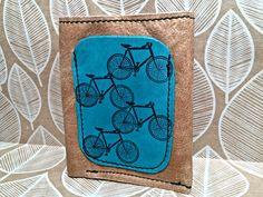 Leather Billfold Wallet Zipper Pocket Bikes Print by Hollyhawk