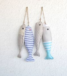 Fabric stuffed fish ornaments, summer house décor, nautical, cute,