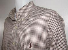 Men Ralph Lauren Shirt Classic Fit Long Sleeve Button Down Cotton Plaid sz XL