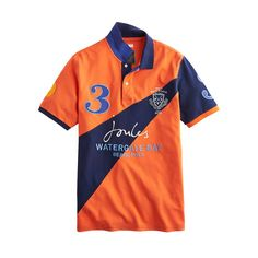 The Joules Watergate Bay orange/navy polo shirt is the official Watergate Bay Polo on the Beach team shirts.Feel part of the action too in this classic fit polo shirt. Product features: Classic fit Part of the official Watergate Bay collection Contrast diagonal band Large embroidery on back 100% cotton Machine Washable. Available online - £59.95 - at: http://www.anotherplace.co.uk/clothing/joules-watergate-bay-ultra-blue-polo-shirt-73.html