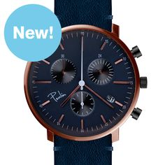 C200-A Chronograph (rose gold/blue) watch by Paulin. Available at Dezeen Watch Store: www.dezeenwatchstore.com