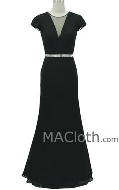 Mermaid Cap Sleeves V Neck Jersey Black Long Evening Gown Formal Party – MACloth