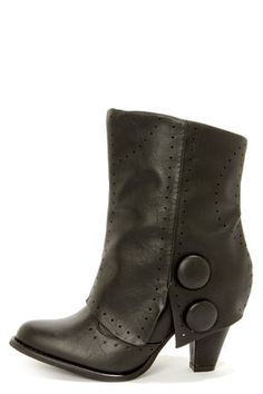 Not Rated Most Wanted Black Pierced and Buttoned Fold-Over Boots at LuLus.com! I wish they were taller.