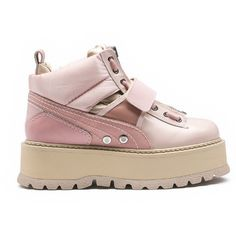 Puma Pink 'Fenty X Puma By Rihanna' Sneaker Boots ($390) ❤ liked on Polyvore featuring shoes, sneakers, pink, platform sneakers, leather sneakers, high-top sneakers, puma high tops and pink high tops