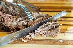 "Beef Brisket is a cut of meat from the chest of a bovine animal. There are different ways to cook brisket; ""The Southern Way"" usually involves smoking the meat very slowly over several ho… Brisket Meat, Braised Brisket, Beef Brisket Recipes, Smoked Beef Brisket, Pork Recipes, Veggie Recipes, Cooking Recipes, Spinach Recipes, Veggie Food"