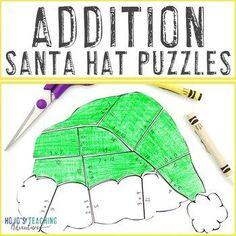 ADDITION Santa Hat Puzzles - FUN Christmas Math Coloring Page Alternatives |  1st, 2nd, 3rd grade, Activities, Basic Operations, Christmas/ Chanukah/ Kwanzaa, Fun Stuff, Homeschool, Math, Math Centers