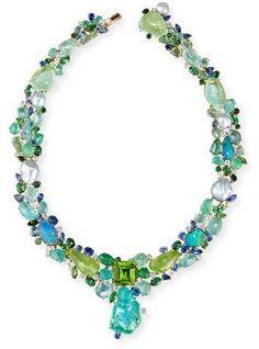Margot McKinney Peridot Paradise Collier Necklace with Diamonds & Sapphires