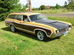 This 1970 Ford Torino Squire wagon is a rarely seen model that's been give a more aggressive look with a Torino GT hood, Torq Thrusts and lowered suspension. It has a 302 with automatic Ford Lincoln Mercury, Beach Wagon, Station Wagon Cars, Automobile, Woody Wagon, Old Wagons, Ford Torino, Roadster, Us Cars