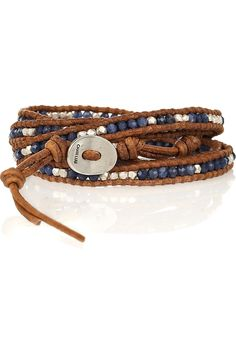 Chan Luu sterling silver and sodalite leather wrap bracelet