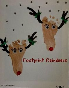 Footprint Reindeer Craft, perfect for Baby& First Christmas - Christmas Activities, Christmas Crafts For Kids, Baby Crafts, Toddler Crafts, Christmas Projects, Holiday Crafts, Holiday Fun, Christmas Holidays, Christmas Ornament